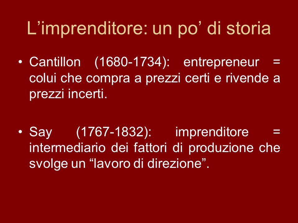 Limprenditore: un po di storia Cantillon (1680-1734): entrepreneur = colui che compra a prezzi certi e rivende a prezzi incerti.