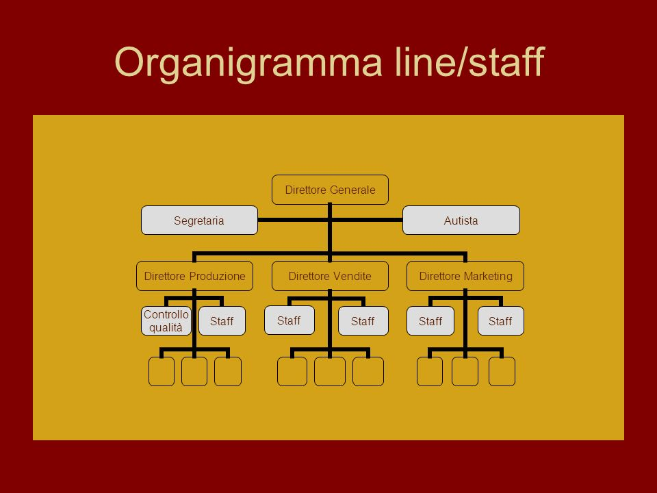 Organigramma line/staff Direttore Generale Direttore Produzione Controllo qualità Staff Direttore Vendite Staff Direttore Marketing Staff SegretariaAutista