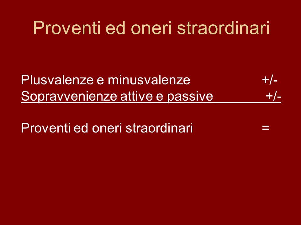Proventi ed oneri straordinari Plusvalenze e minusvalenze+/- Sopravvenienze attive e passive +/- Proventi ed oneri straordinari=