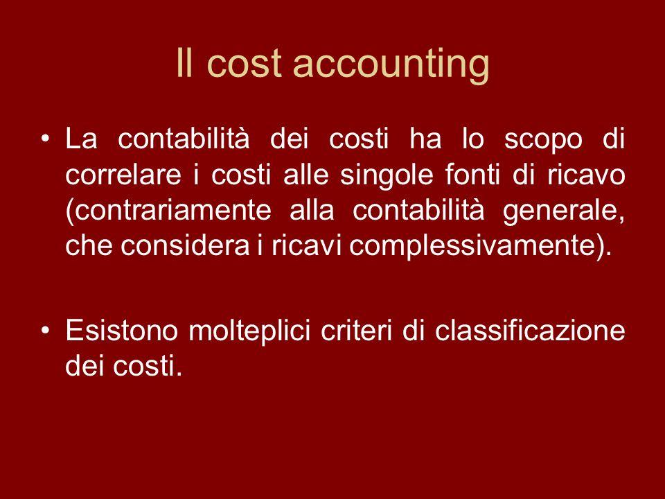 Il cost accounting La contabilità dei costi ha lo scopo di correlare i costi alle singole fonti di ricavo (contrariamente alla contabilità generale, c