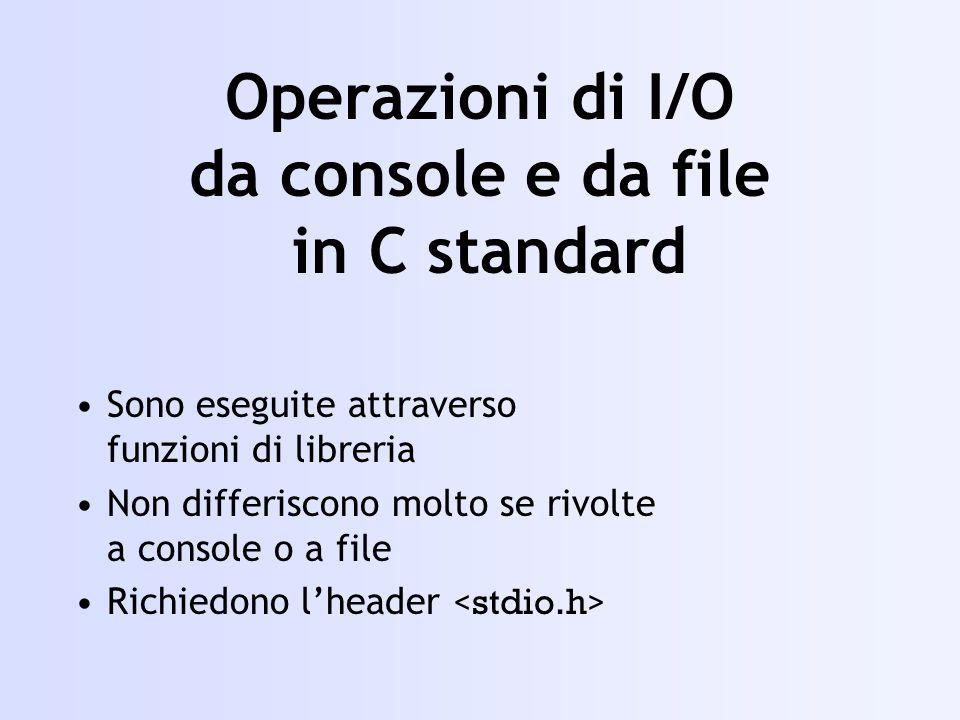 Operazioni di I/O da console e da file in C standard Sono eseguite attraverso funzioni di libreria Non differiscono molto se rivolte a console o a file Richiedono lheader