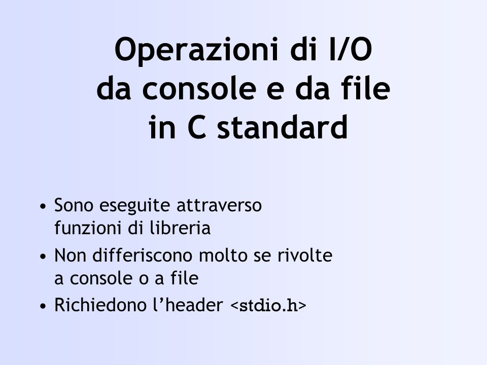 #include using namespace std; void main() { int i; ifstream in(test,ios::in|ios::binary); if(!in){cout<<impossibile aprire il file;} in.seekg(atoi(test),ios::beg); while (in.get(ch)) cout <<ch; } Funzioni per determinare la posizione corrente dei puntatori pos_type tellg(); pos_type tellp();