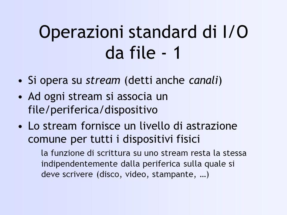 Operazioni standard di I/O da file - 1 Si opera su stream (detti anche canali) Ad ogni stream si associa un file/periferica/dispositivo Lo stream fornisce un livello di astrazione comune per tutti i dispositivi fisici la funzione di scrittura su uno stream resta la stessa indipendentemente dalla periferica sulla quale si deve scrivere (disco, video, stampante, …)