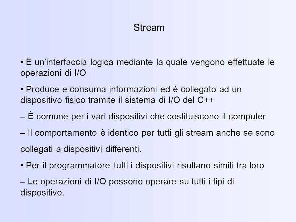 Stream È uninterfaccia logica mediante la quale vengono effettuate le operazioni di I/O Produce e consuma informazioni ed è collegato ad un dispositivo fisico tramite il sistema di I/O del C++ – È comune per i vari dispositivi che costituiscono il computer – Il comportamento è identico per tutti gli stream anche se sono collegati a dispositivi differenti.
