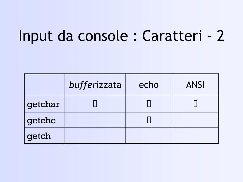 i = 0; while( (ch = fgetc( fpSrc )) != EOF ) { fputc( ch, fpDest ); printf( \nCarattere n.%d (%c) \tPremi un tasto... , i++, ch ); getch(); } fclose( fpDest ); fclose( fpSrc ); puts( Copia effettuata. ); … file_c – 2