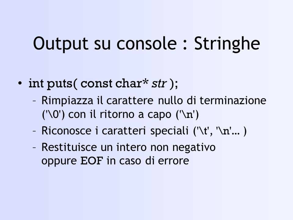 Uso della funzione read #include using namespace std; void main() { char s[80]; int i; ifstream in(test, ios::in | ios::binary); if(!in) {cout<<Impossibile aprire il file;} in.read(s, sizeof(s)); cout<< scrittura <<\n; cout<<s; in.close(); }