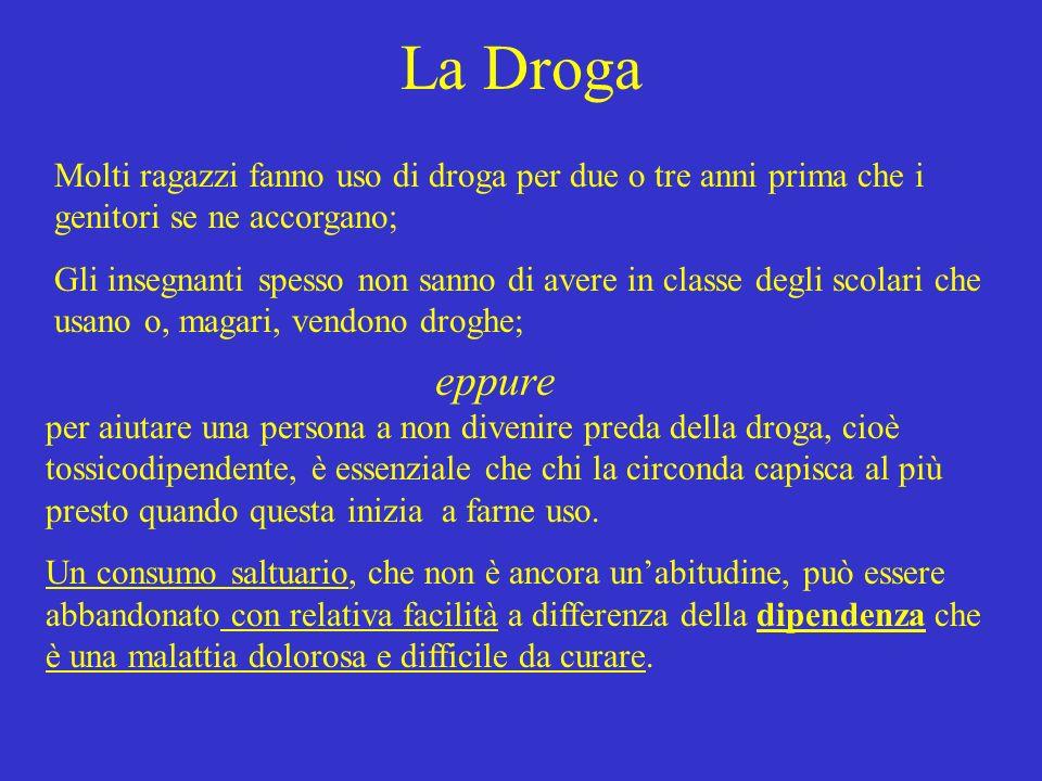 La Droga Molti ragazzi fanno uso di droga per due o tre anni prima che i genitori se ne accorgano; Gli insegnanti spesso non sanno di avere in classe