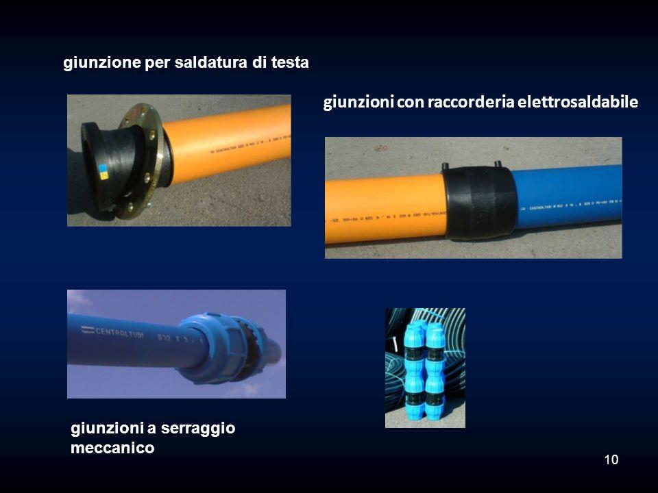 giunzione per saldatura di testa giunzioni a serraggio meccanico giunzioni con raccorderia elettrosaldabile 10