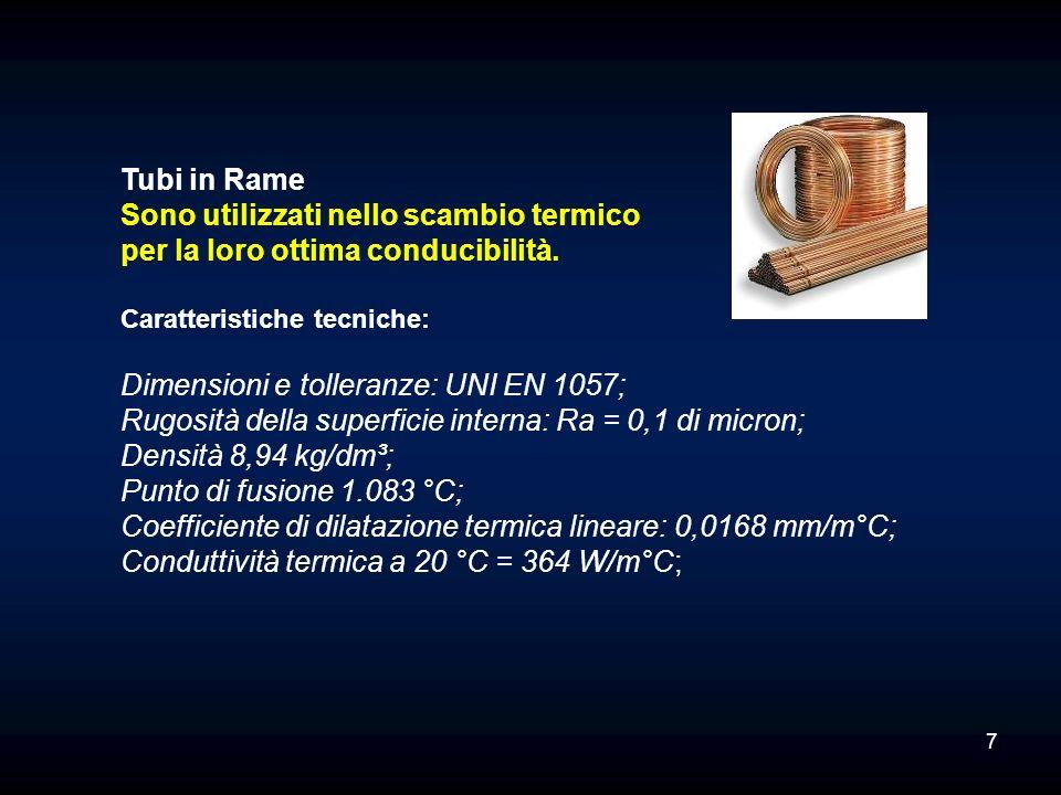 Tubi in Rame Sono utilizzati nello scambio termico per la loro ottima conducibilità. Caratteristiche tecniche: Dimensioni e tolleranze: UNI EN 1057; R