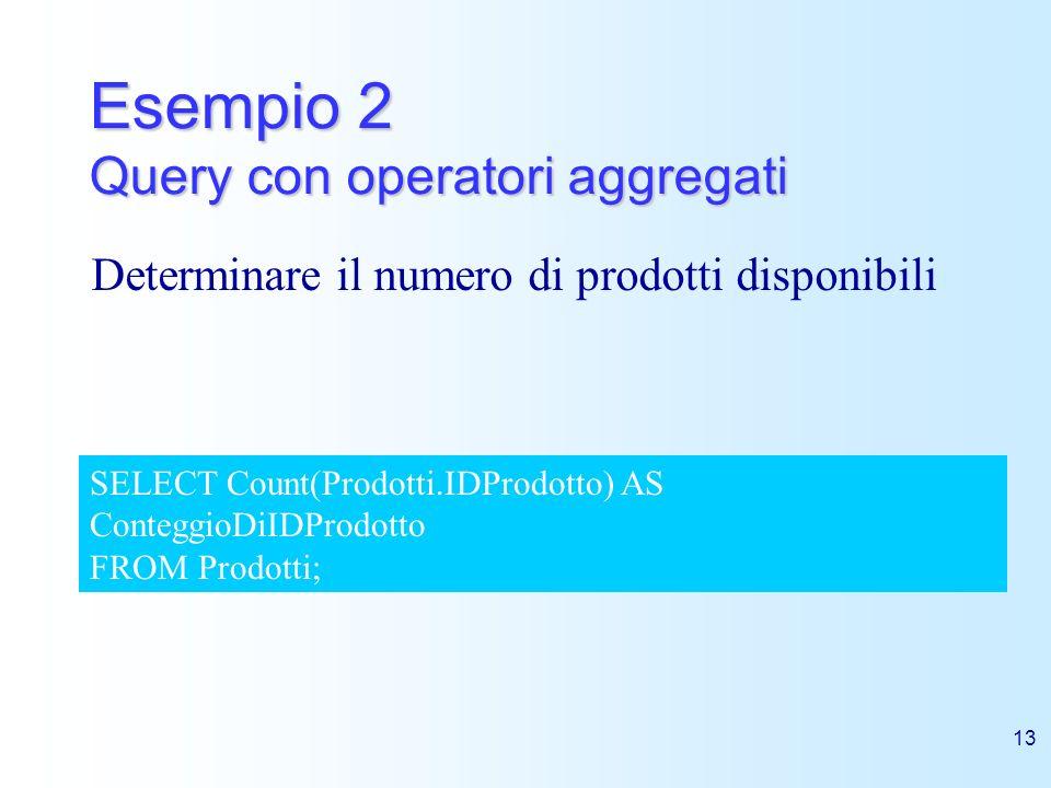 13 Esempio 2 Query con operatori aggregati Determinare il numero di prodotti disponibili SELECT Count(Prodotti.IDProdotto) AS ConteggioDiIDProdotto FR