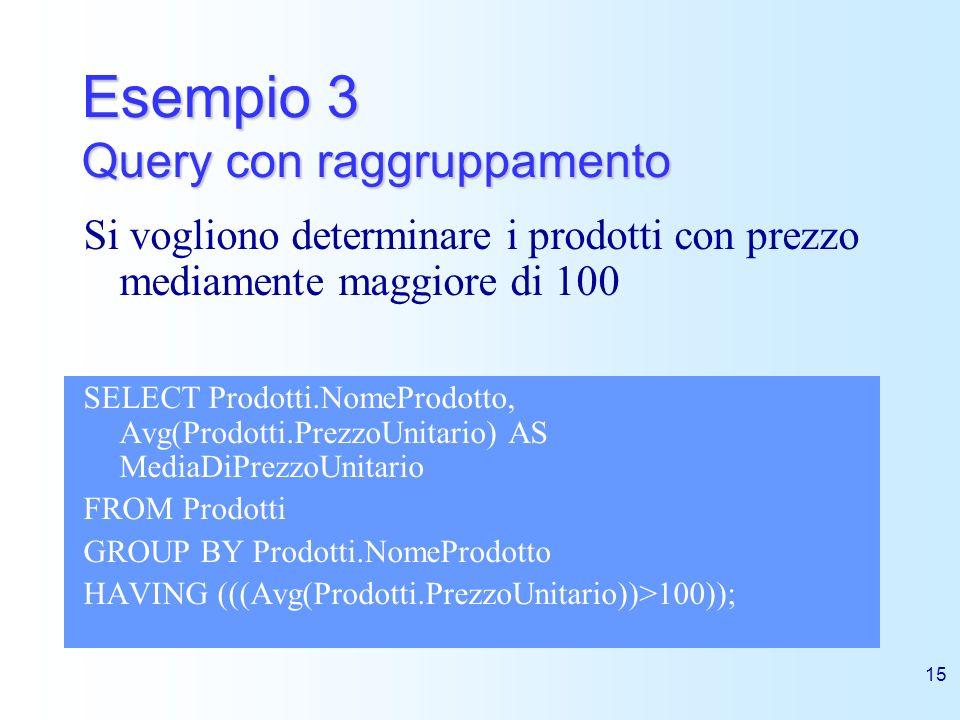 15 Esempio 3 Query con raggruppamento SELECT Prodotti.NomeProdotto, Avg(Prodotti.PrezzoUnitario) AS MediaDiPrezzoUnitario FROM Prodotti GROUP BY Prodo