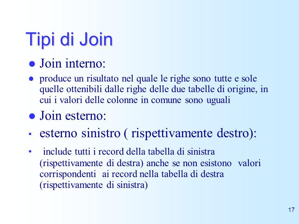 17 Tipi di Join Join interno: produce un risultato nel quale le righe sono tutte e sole quelle ottenibili dalle righe delle due tabelle di origine, in