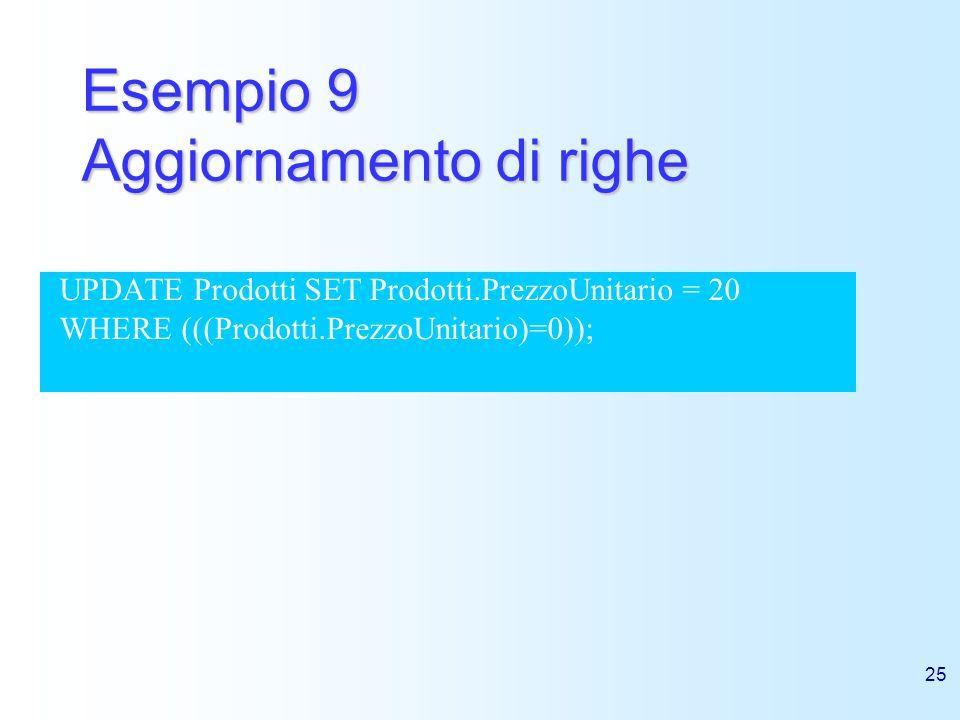 25 Esempio 9 Aggiornamento di righe UPDATE Prodotti SET Prodotti.PrezzoUnitario = 20 WHERE (((Prodotti.PrezzoUnitario)=0));