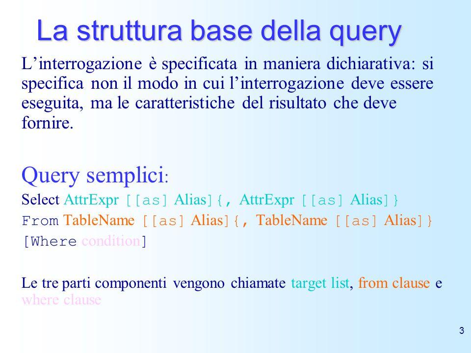 14 Query con raggruppamento E possibile dividere la tabella risultante da una query con operatori aggregati in sottoinsiemi, raggruppando le righe che contengono gli stessi valori per un insieme di attributi.