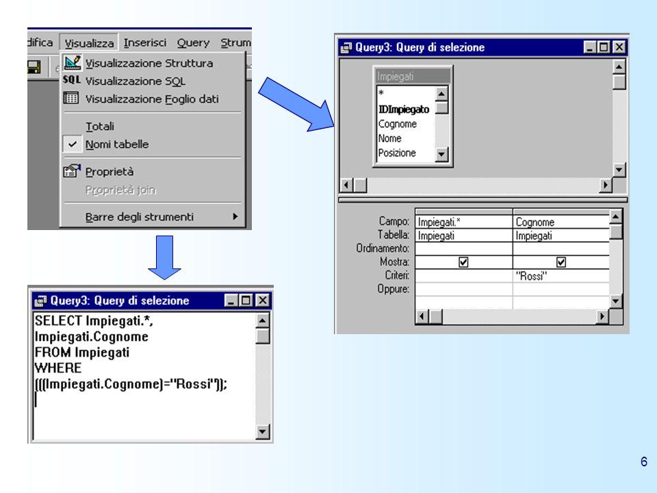 7 Esempi di query in SQL Di seguito riportiamo alcuni esempi di query in linguaggio SQL facendo riferimento al database di esempio northwind presente nellapplicazione Microsoft Access di cui riportiamo il diagramma delle relazioni