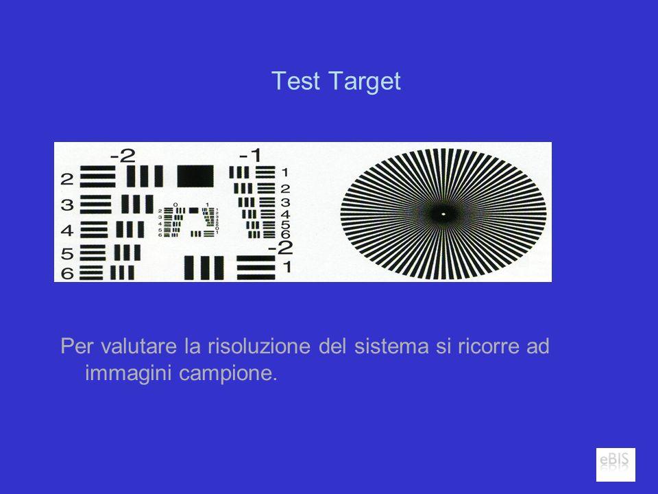 Test Target Per valutare la risoluzione del sistema si ricorre ad immagini campione.