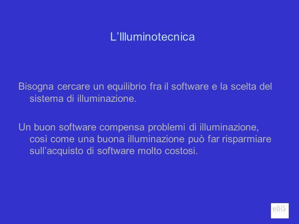 LIlluminotecnica Bisogna cercare un equilibrio fra il software e la scelta del sistema di illuminazione. Un buon software compensa problemi di illumin