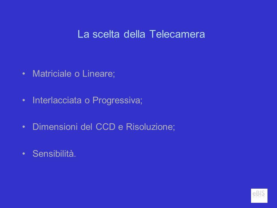 La scelta della Telecamera Matriciale o Lineare; Interlacciata o Progressiva; Dimensioni del CCD e Risoluzione; Sensibilità.