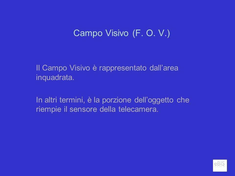 Campo Visivo (F. O. V.) Il Campo Visivo è rappresentato dallarea inquadrata. In altri termini, è la porzione delloggetto che riempie il sensore della