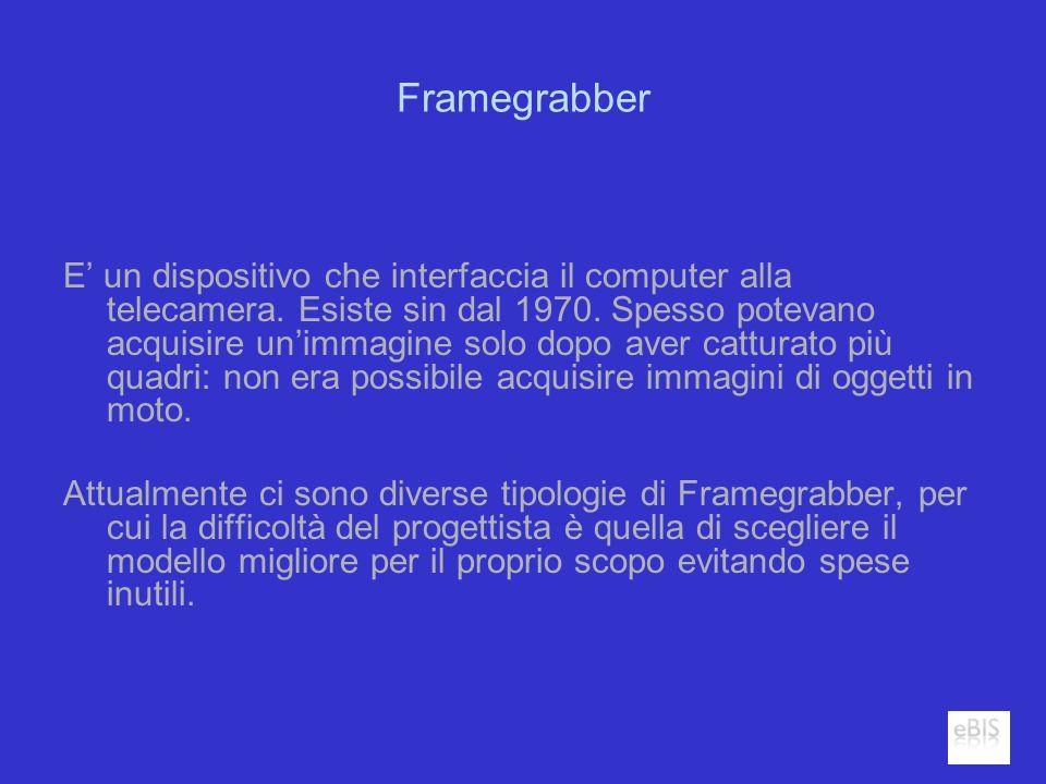 Framegrabber E un dispositivo che interfaccia il computer alla telecamera. Esiste sin dal 1970. Spesso potevano acquisire unimmagine solo dopo aver ca