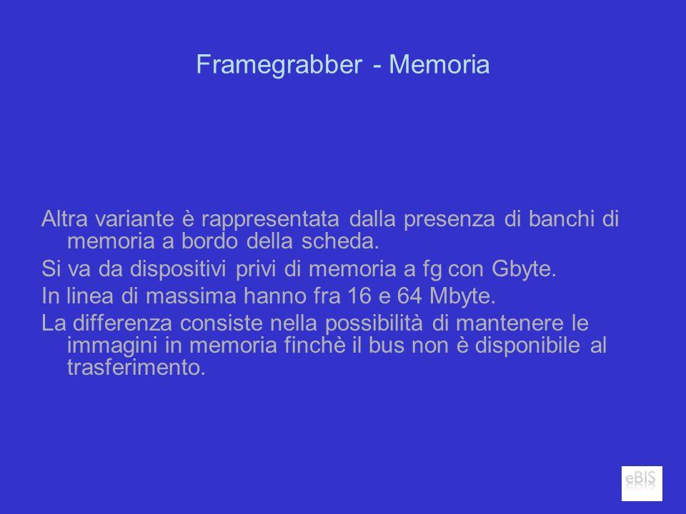 Framegrabber - Memoria Altra variante è rappresentata dalla presenza di banchi di memoria a bordo della scheda. Si va da dispositivi privi di memoria