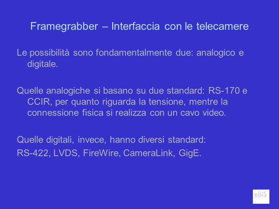 Framegrabber – Interfaccia con le telecamere Le possibilità sono fondamentalmente due: analogico e digitale. Quelle analogiche si basano su due standa