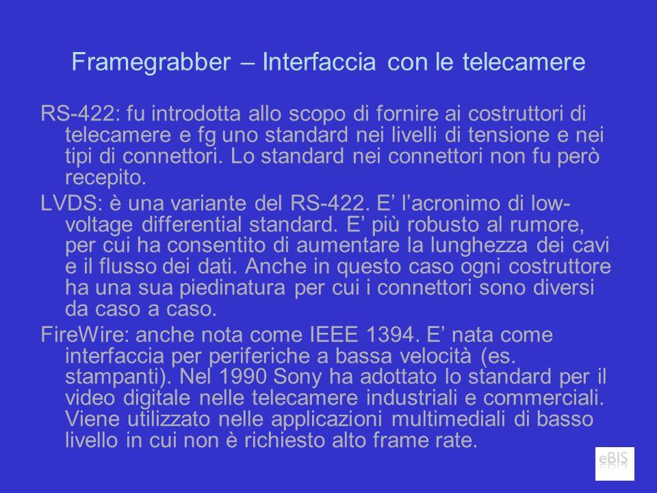 Framegrabber – Interfaccia con le telecamere RS-422: fu introdotta allo scopo di fornire ai costruttori di telecamere e fg uno standard nei livelli di