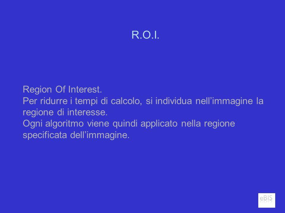 R.O.I. Region Of Interest. Per ridurre i tempi di calcolo, si individua nellimmagine la regione di interesse. Ogni algoritmo viene quindi applicato ne