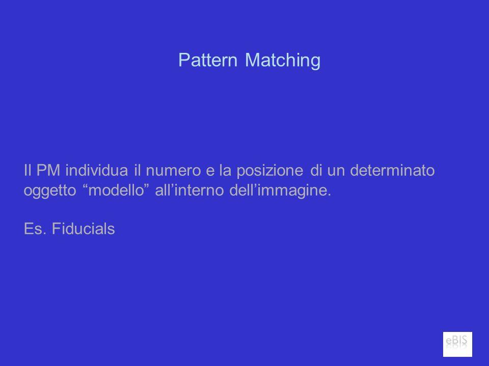 Pattern Matching Il PM individua il numero e la posizione di un determinato oggetto modello allinterno dellimmagine. Es. Fiducials