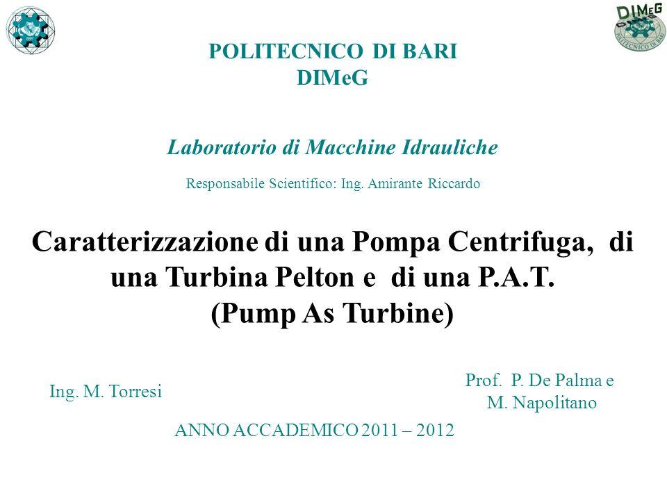 Caratterizzazione di una Pompa Centrifuga, di una Turbina Pelton e di una P.A.T. (Pump As Turbine) Ing. M. Torresi Prof. P. De Palma e M. Napolitano L
