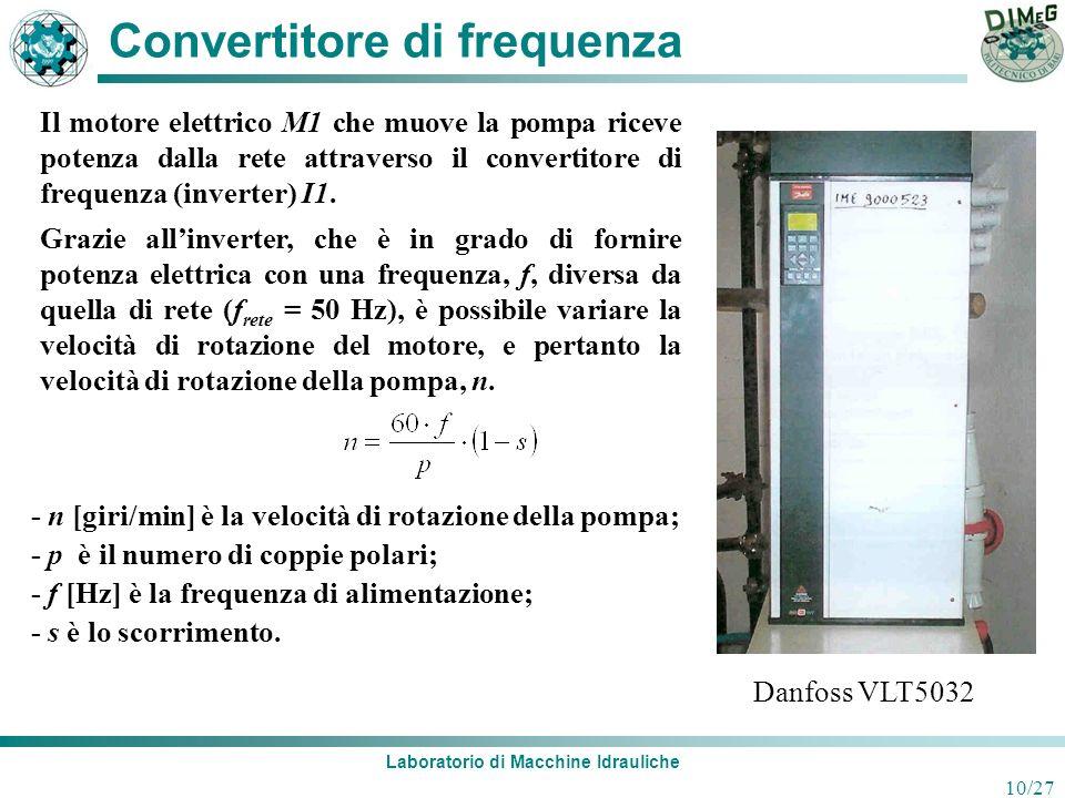 Laboratorio di Macchine Idrauliche 10/27 Convertitore di frequenza Il motore elettrico M1 che muove la pompa riceve potenza dalla rete attraverso il c