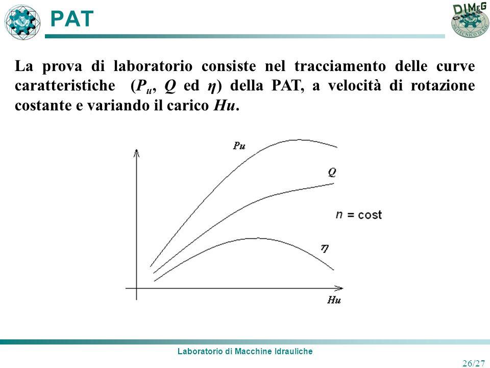 Laboratorio di Macchine Idrauliche 26/27 PAT La prova di laboratorio consiste nel tracciamento delle curve caratteristiche (P u, Q ed η) della PAT, a