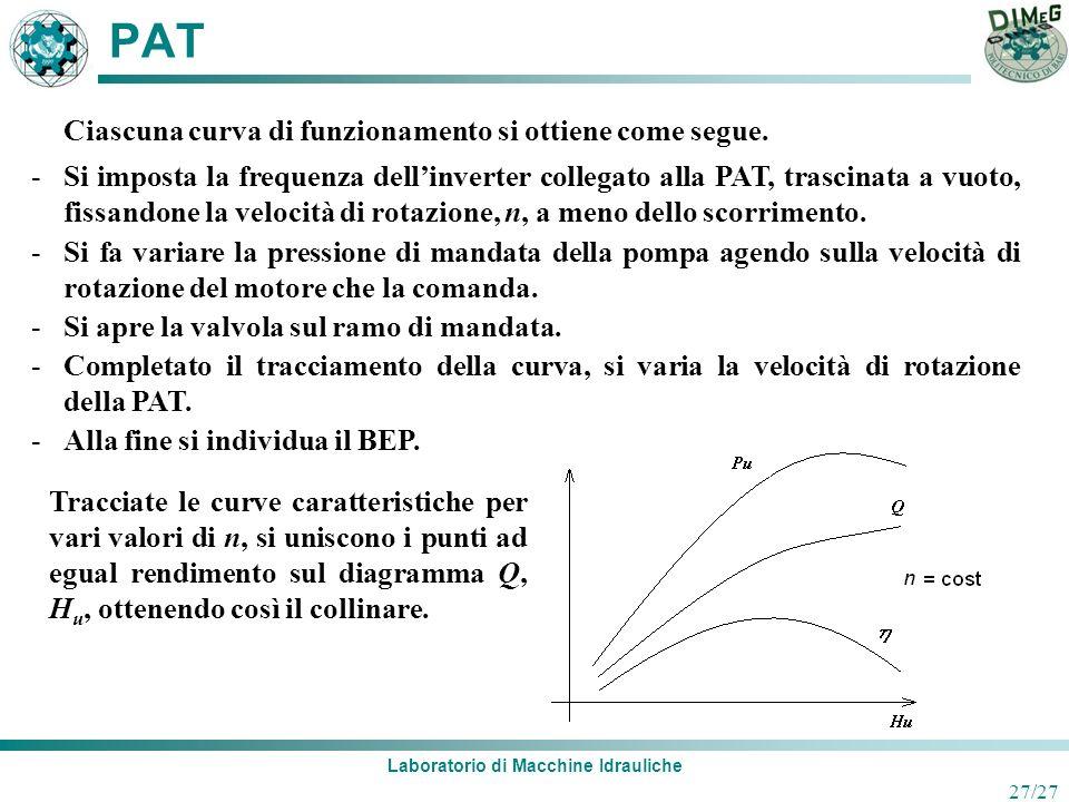 Laboratorio di Macchine Idrauliche 27/27 PAT Ciascuna curva di funzionamento si ottiene come segue. -Si imposta la frequenza dellinverter collegato al