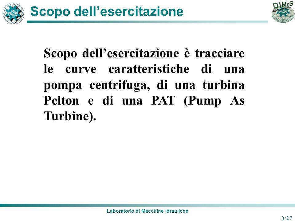 Laboratorio di Macchine Idrauliche 3/27 Scopo dellesercitazione Scopo dellesercitazione è tracciare le curve caratteristiche di una pompa centrifuga,