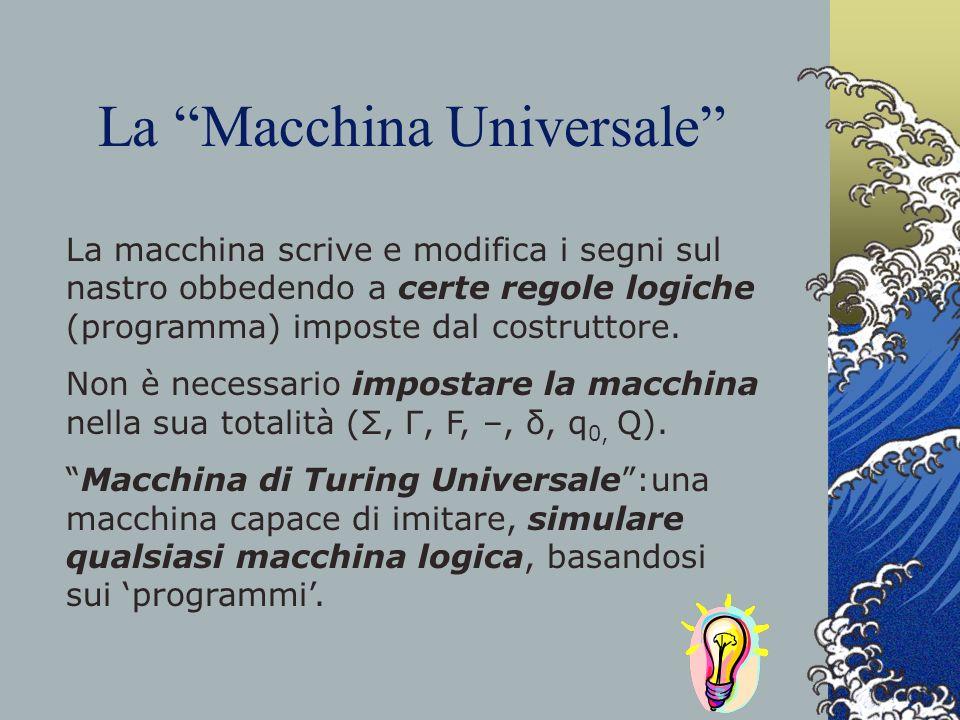 La Macchina Universale La macchina scrive e modifica i segni sul nastro obbedendo a certe regole logiche (programma) imposte dal costruttore. Non è ne