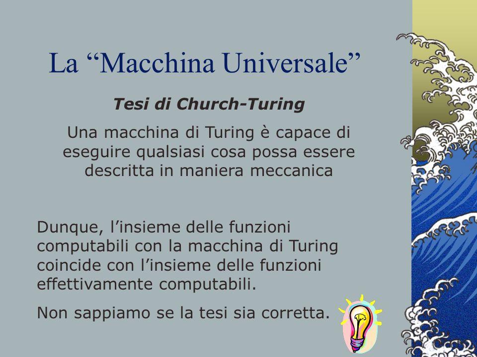 La Macchina Universale Tesi di Church-Turing Una macchina di Turing è capace di eseguire qualsiasi cosa possa essere descritta in maniera meccanica Du