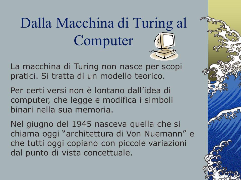 Dalla Macchina di Turing al Computer La macchina di Turing non nasce per scopi pratici. Si tratta di un modello teorico. Per certi versi non è lontano