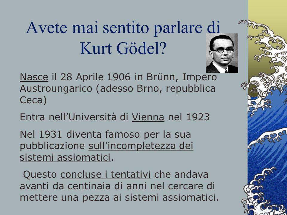 Avete mai sentito parlare di Kurt Gödel? Nasce il 28 Aprile 1906 in Brünn, Impero Austroungarico (adesso Brno, repubblica Ceca) Entra nellUniversità d
