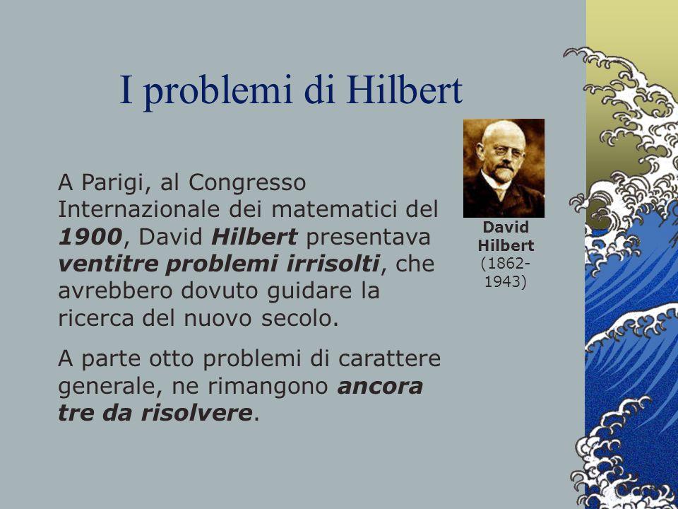 I problemi di Hilbert A Parigi, al Congresso Internazionale dei matematici del 1900, David Hilbert presentava ventitre problemi irrisolti, che avrebbe