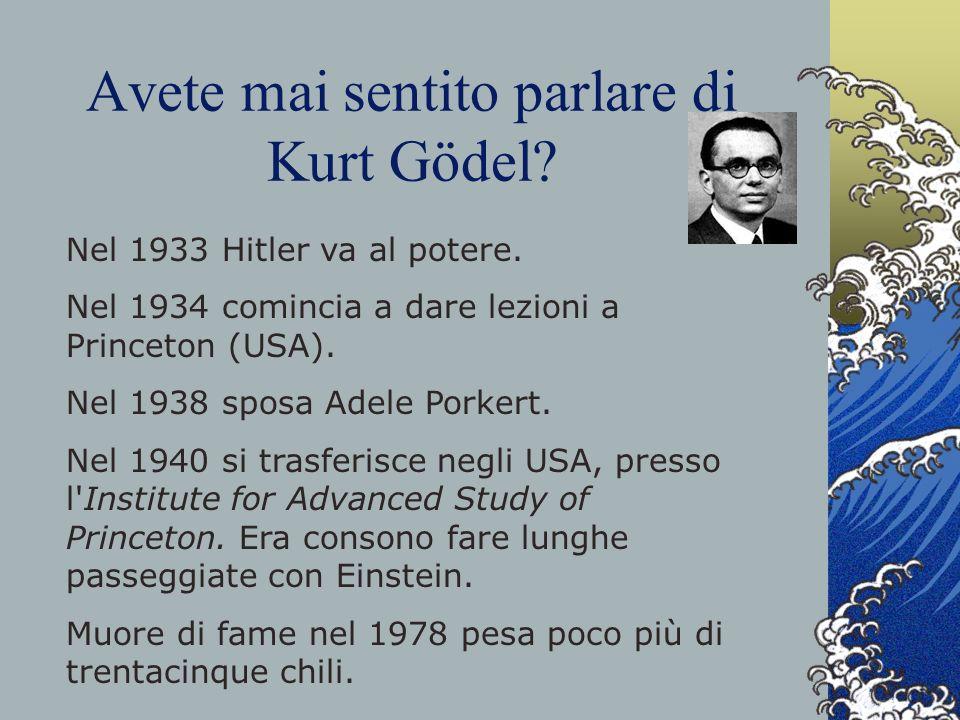 Avete mai sentito parlare di Kurt Gödel? Nel 1933 Hitler va al potere. Nel 1934 comincia a dare lezioni a Princeton (USA). Nel 1938 sposa Adele Porker