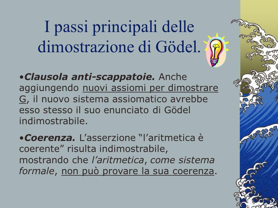 I passi principali delle dimostrazione di Gödel. Clausola anti-scappatoie. Anche aggiungendo nuovi assiomi per dimostrare G, il nuovo sistema assiomat