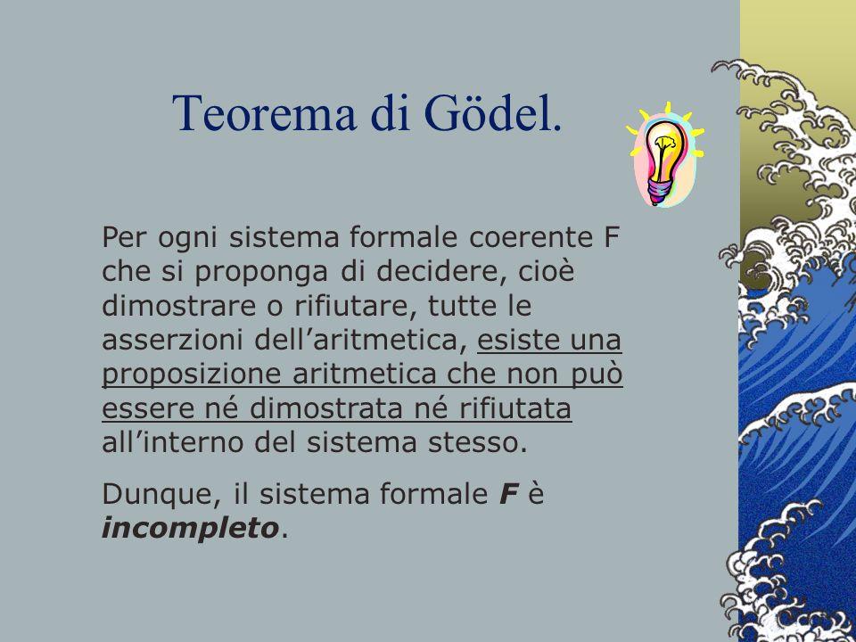 Teorema di Gödel. Per ogni sistema formale coerente F che si proponga di decidere, cioè dimostrare o rifiutare, tutte le asserzioni dellaritmetica, es