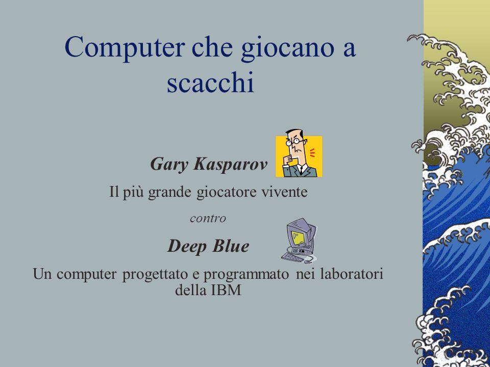 Computer che giocano a scacchi Gary Kasparov Il più grande giocatore vivente contro Deep Blue Un computer progettato e programmato nei laboratori dell