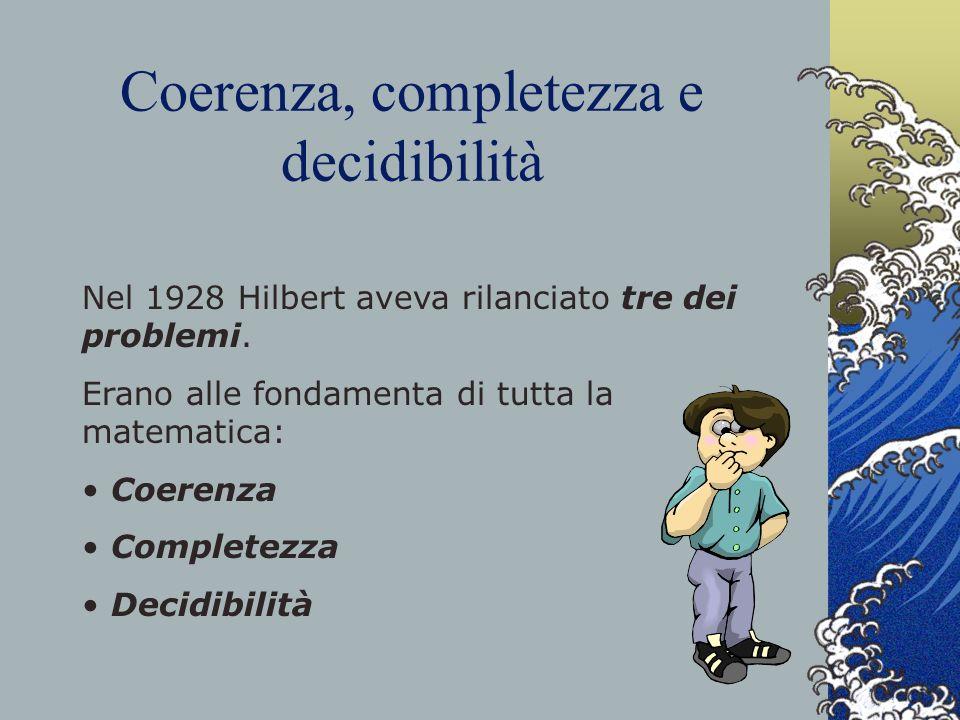 Coerenza, completezza e decidibilità Nel 1928 Hilbert aveva rilanciato tre dei problemi. Erano alle fondamenta di tutta la matematica: Coerenza Comple