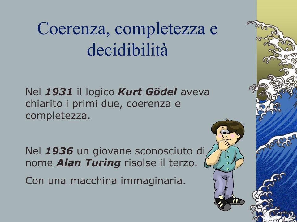 Coerenza, completezza e decidibilità Nel 1931 il logico Kurt Gödel aveva chiarito i primi due, coerenza e completezza. Nel 1936 un giovane sconosciuto