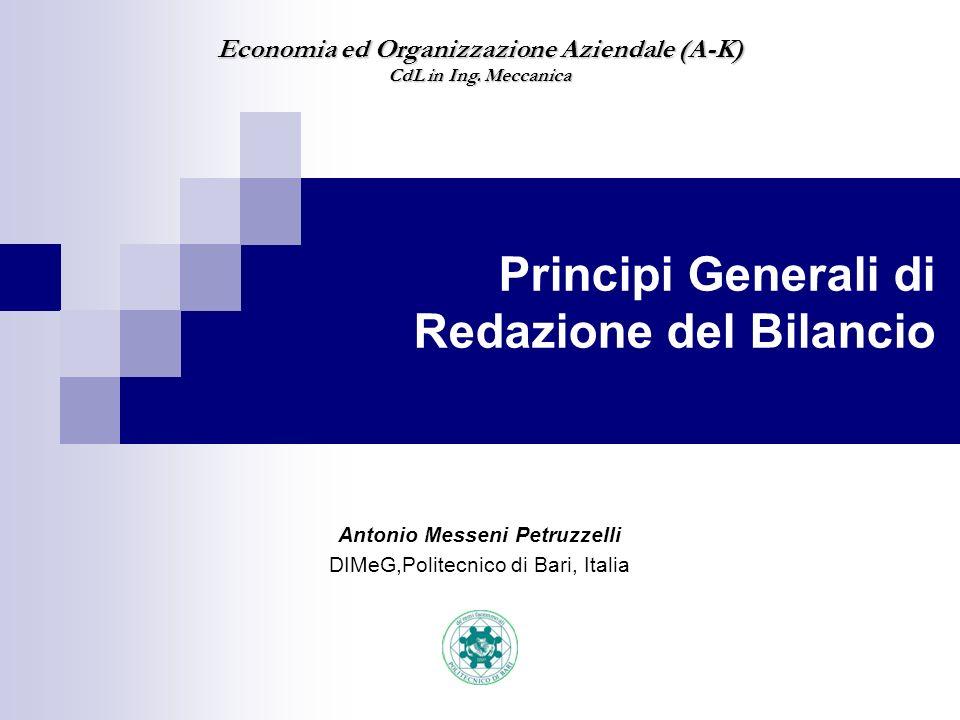 Antonio Messeni Petruzzelli DIMeG,Politecnico di Bari, Italia Economia ed Organizzazione Aziendale (A-K) CdL in Ing.