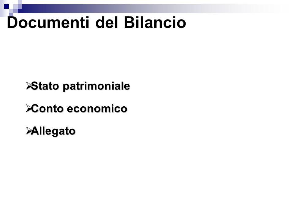 Documenti del Bilancio Stato patrimoniale Stato patrimoniale Conto economico Conto economico Allegato Allegato