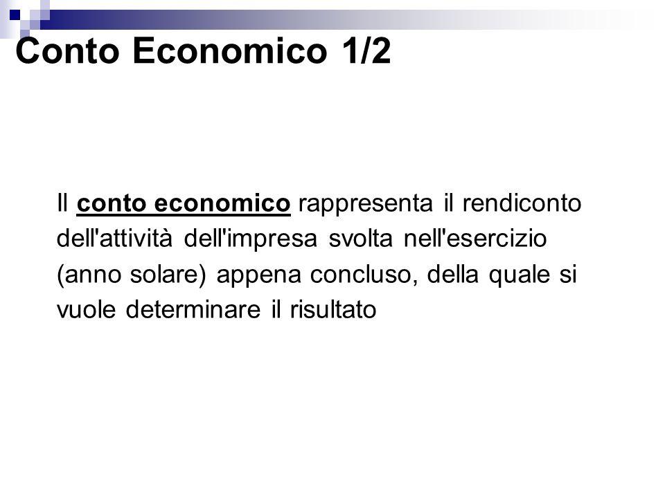 Conto Economico 1/2 Il conto economico rappresenta il rendiconto dell attività dell impresa svolta nell esercizio (anno solare) appena concluso, della quale si vuole determinare il risultato