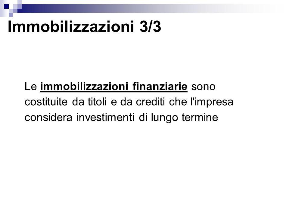 Immobilizzazioni 3/3 Le immobilizzazioni finanziarie sono costituite da titoli e da crediti che l impresa considera investimenti di lungo termine