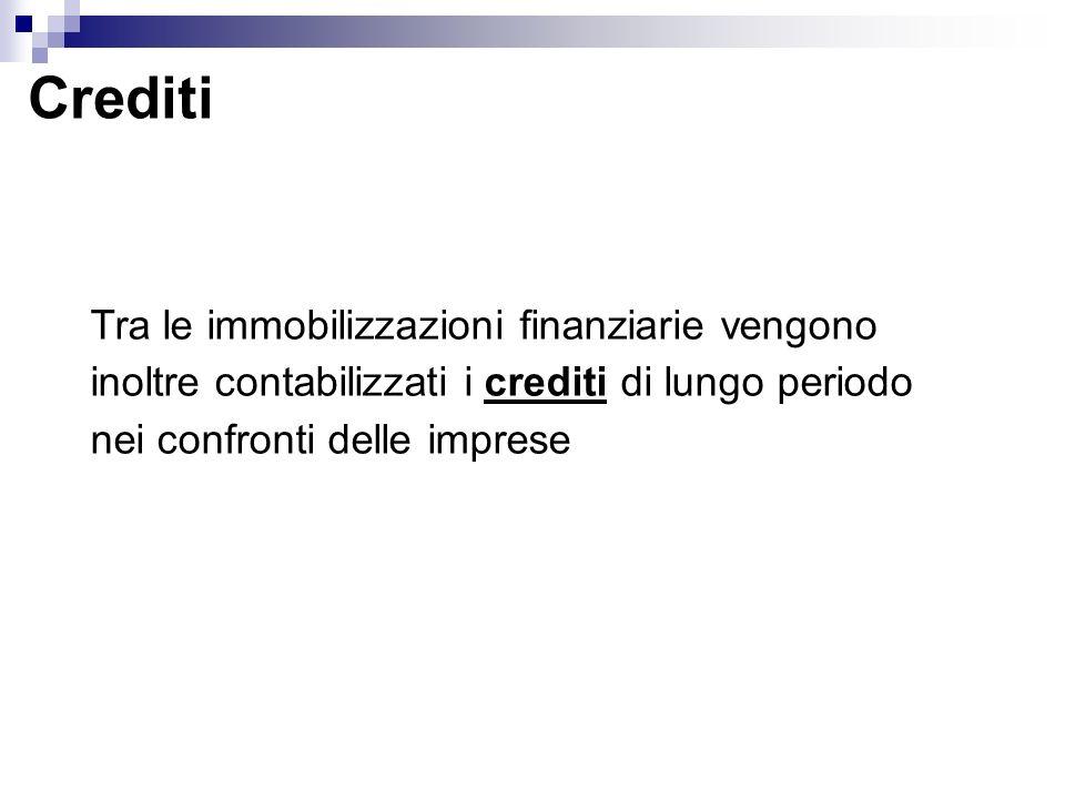Crediti Tra le immobilizzazioni finanziarie vengono inoltre contabilizzati i crediti di lungo periodo nei confronti delle imprese